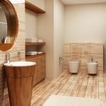 Stylish Modern Bathroom Remodel and Design Idea with Wood Accents