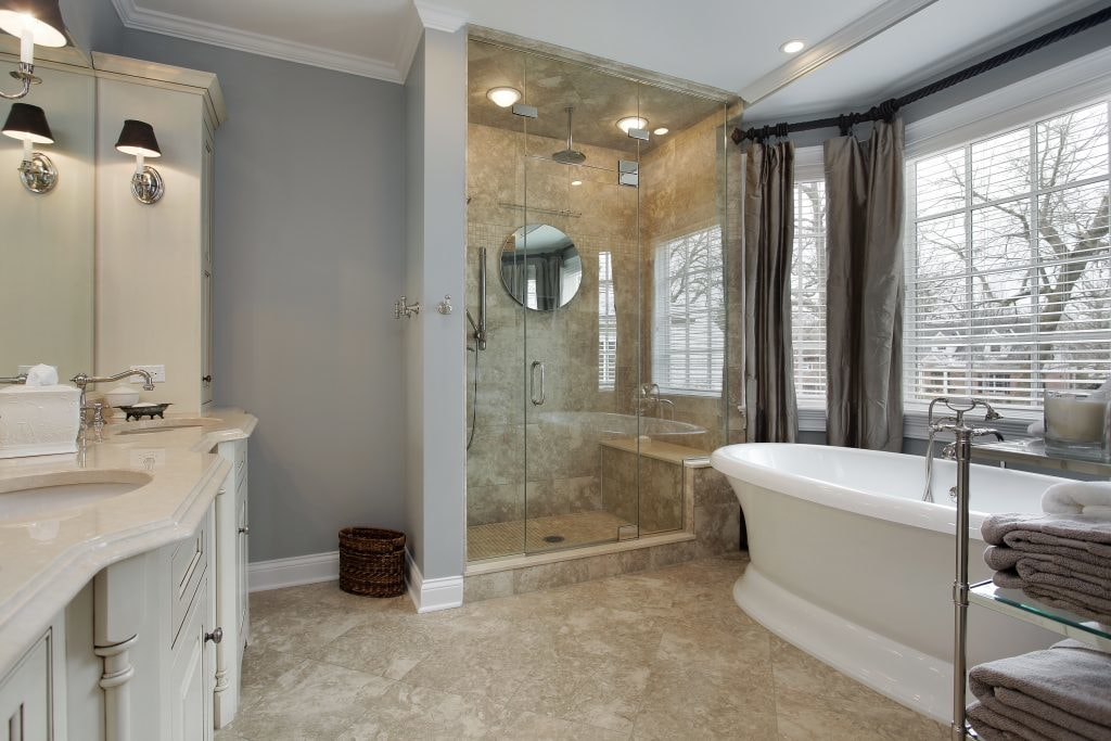 ... Modern Bathroom Remodel And Design Idea With Granite Counters And Big  Shower ...