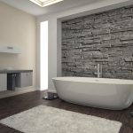 Modern Creative Bathroom Remodel and Design Idea with Natural Stone Wall