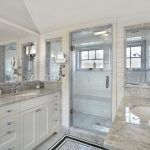 Modern Bathroom Remodel and Design Idea with Granite Counters and Big Shower