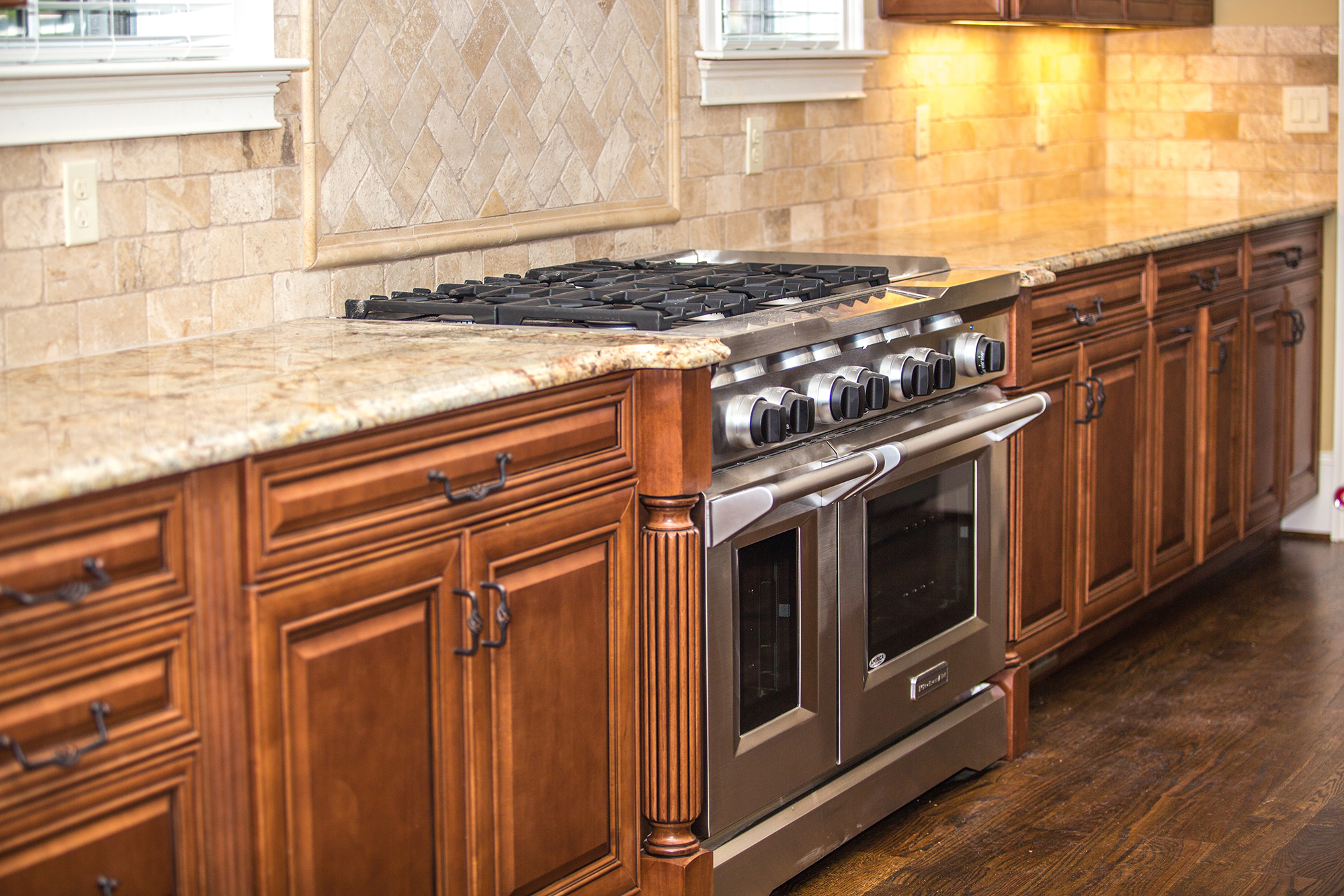 ... Modern Kitchen Remodel And Design With Quartz Countertops And Wooden  Cabinets